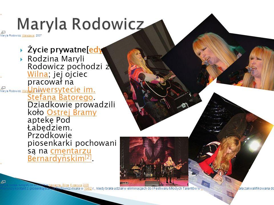 Maryla Rodowicz. Życie prywatne[edytuj]